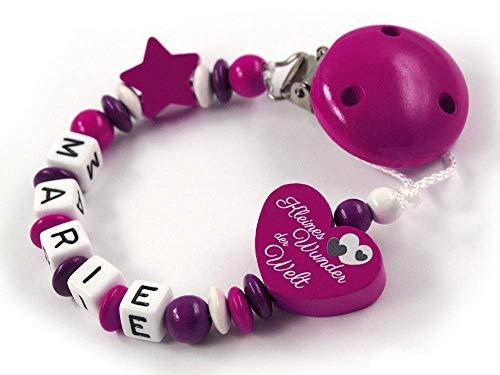 """Schnullerkette mit Namen Mädchen - max. 7 Buchstaben - Herz"""" Kleines Wunder der Welt"""" Stern - dunkelpink, beere, lila weiß - Baby - Holzbuchstaben"""