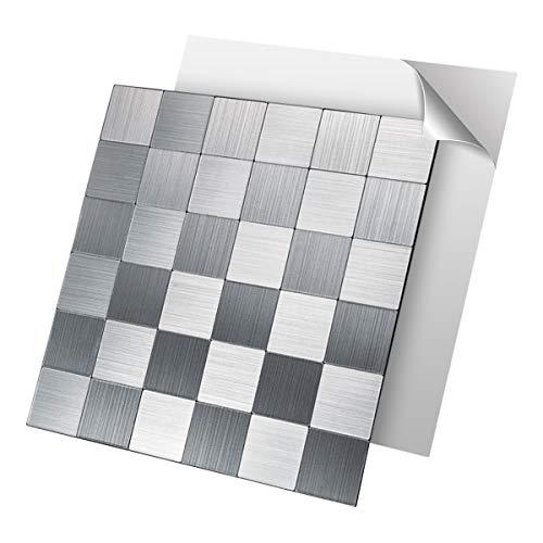 Art3d Fliesenrückwand zum Abziehen und Aufkleben, Edelstahl auf Wandfliesen für Küchenrückwand 1 Blatt