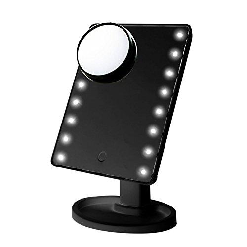 """Miroir lumineux avec écran tactile de la vanité cosmétique gradable 16 LED écran de 10,8"""" pouces+mini miroir de grossissement avec ventouse avec espace de rangement pour le maquillage de rasage"""