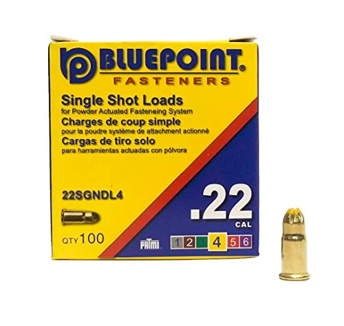 BLUEPOINT .22 Cal YELLOW Neck Down Single Shot Powder Load for Powder Actuated Fastening System, (100 - Count). Item# 22SGNDL4