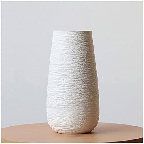 Vase Dekoration Weiße Keramik mit Bump Textur Nordic Art Esstisch Schlafzimmer getrockneten Blumen und Blumenschmuck JXLBB