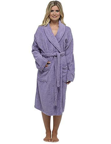 CityComfort Señoras Robe Luxury Terry Toweling algodón bata albornoz altamente absorbente con capucha y Shawl Towel baño abrigo (S, chal lila)