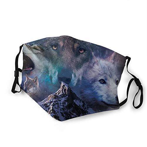Verstellbarer Mundschutz mit Filter, Heulender Wolf, Nacht, Wald, Wölfe, wiederverwendbar, Anti-Staub Gesicht