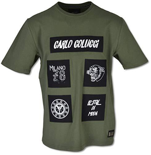 Carlo Colucci Aufwendiges T-Shirt mit 3D-Stickereien, Khaki Oliv M