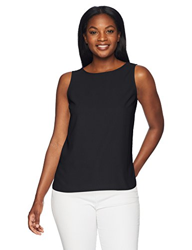 Amazon Brand - Lark & Ro Women's Sleeveless Layering Tank: Crew and V-Neck, Black, 14