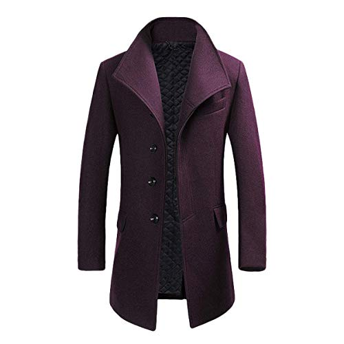 Mens Quality Mid Long Wool Trench Pea Coat wide lapel Warm Jacket Overcoat