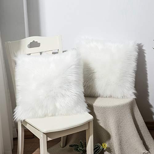 OYIMUA 2 fundas de cojín decorativas, de piel de cordero sintética, de pelo largo, para sofá, color blanco, 40 x 40 cm