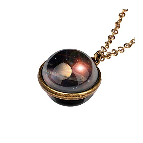 Aniywn Sweater Pendant Necklace, Universe Planet Jewelry Glass Planet Space Design Necklace Valentine's Day Gift