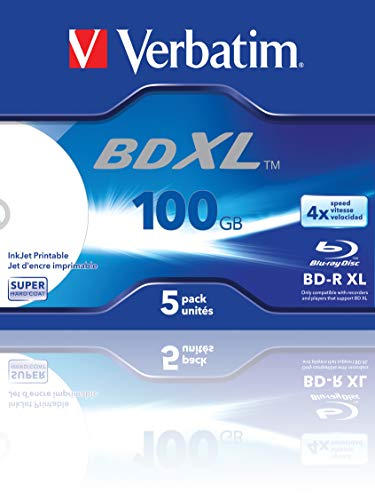 VERBATIM BD-R XL Blu-ray Rohlinge 100 GB I Blu-ray-Disc mit 4-facher Schreibgeschwindigkeit I 5er-Pack Jewel Case I großflächig bedruckbar I Blu-ray-Disks für Video- und Audiodateien