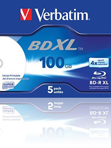 Verbatim BD-R XL - 100 GB, 4-fache Schreibgeschwindigkeit und Bedruckbar mit Hardcoat Scratch Guard, 5er Pack, Jewel Case