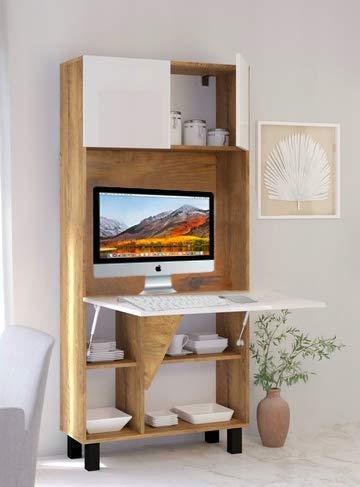 BM Computerarbeitsplatz, Schreibtisch, funktionales Heimbüro, verstecktes Heimbüro, platzsparender Laptop-Computertisch, Klappschreibtisch (Dark Oak)