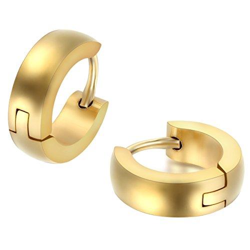 JewelryWe Pendientes Hombre Mujer, Huggie Pendientes de Aro, Pulido Acero inoxidable Pendientes Unisex Dorado (con bolsa de regalo) 1 Par