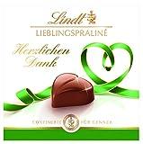 Lindt Lieblingspraliné Nougat, Confiserie für Kenner, 10 Mini-Pralinen-Packungen, 5x rot mit Gruß 'Von Herzen', 5x grün mit Gruß 'Herzlichen Dank' (10 x 40g)