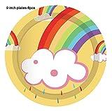 JSJJARF Suministros Fiestas Set Colorful Rainbow Feliz cumpleaños Decoraciones de Fiesta Cena Placas Placas de Ducha Baby Shower Vajilla Conjuntos Favoritos de Fiesta (Color : 9inch 8pcs)