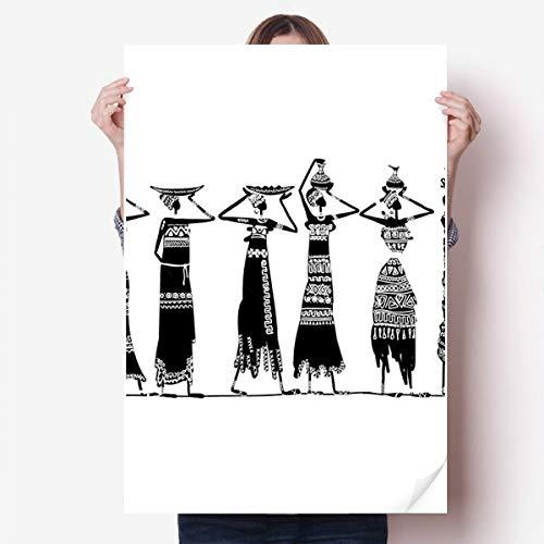 DIYthinker Afrique Primitive Robes autochtones Noir Totems Vinyle Autocollant de Mur Poster Mural Wallpaper Chambre Decal 80X55Cm 80cm x 55cm Multicolor