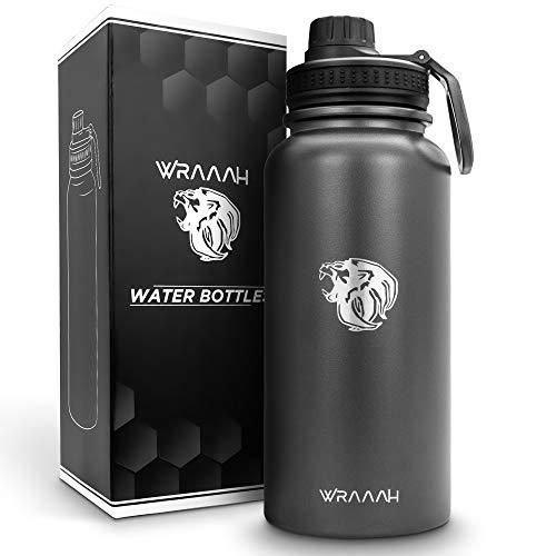 WRAAAH Botella de acero inoxidable de 1 litro, hasta 12 horas de calor y 24 horas de frio, termo de doble pared para deportes, fitness y exterior, apto para lavavajillas, sin BPA y antigoteo