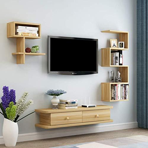 ZXYY wandmontage TV kast muur plank drijvende plank set top Box WiFi Router kleine elektronische producten opslag planken TV console TV standaard boekenplank (kleur: bruin grootte: 1.1m) 90cm-wood Color