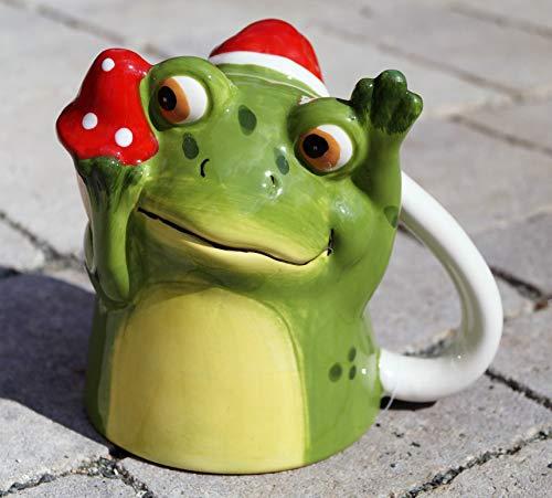Rostalgie Porzellan Umdreh-Becher Pinguin/Schneemann/Weihnachtsmann/Frosch Weihnachtsbecher Geschenkartikel Dekoration - 1 STÜCK (Porzellan, Frosch mit Pilz)