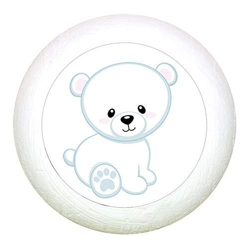 """Möbelknauf""""Eisbär sitzend"""" weiss Holz Buche Kinder Kinderzimmer 1 Stück wilde Tiere Zootiere Dschungeltiere Traum Kind"""