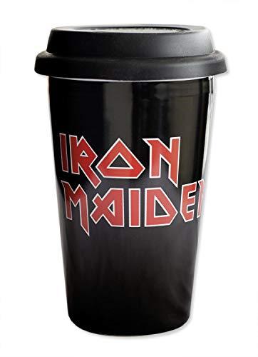 Close Up Iron Maiden Travelmug *Logo* Reisebecher - schwarz, 100% Keramik/Silikon, Bedruckt, Fassungsvermögen ca. 400 ml.