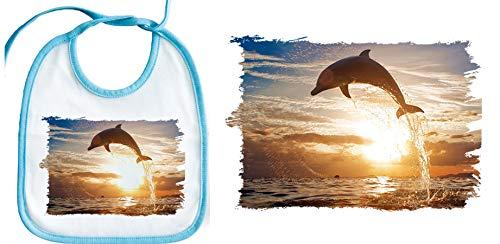 BABERO AZUL DELFIN ATARDECER MAR OCEANO baby bib