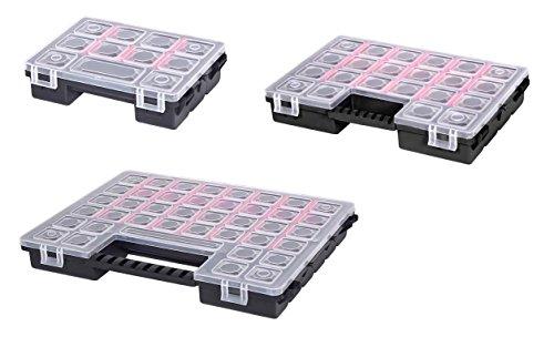 3 teiliges Organizer-Set aus robustem Kunststoff in verschiedenen Größen. Jeder Organizer mit variablen Trennwänden ausgestattet. Topp für Haushalt, Werkstatt und Garage!