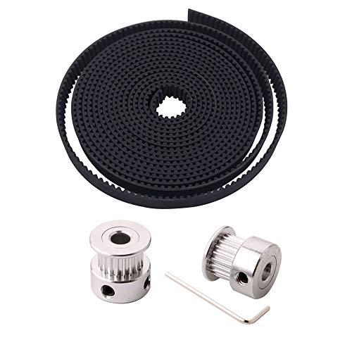 FULARR® 2m プロフェッショナル 3D プリンター GT2 タイミングベルト、2mm ピッチ 6mm ワイド ゴムタイミングベルト、2個 5mm 20歯アルミニウムタイミングプーリーホイール、2mm アレンレンチ付き、3DプリンターCNCマシン用