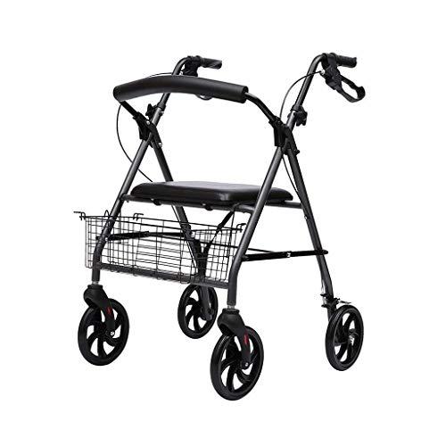 PIVFEDQX Andador, Andador para Personas Mayores y Silla de Ruedas Modelo Colón Frenos Plegables en Las Asas Cesta y Asiento Regulables en Altura Andador ayudas para discapacitados