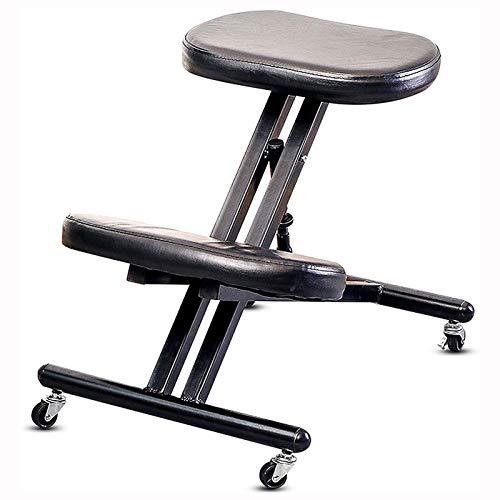 AFTIU Professionelle Kniestuhl für zu Hause, Ergonomischer Kneeling Chairs mit 4 Mute Caster und Gesunde Rückenhaltung Korrekturstuhl, für zu Hause und das Büro,Schwarz