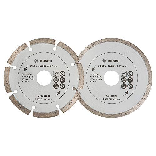 Bosch 2 Diamanttrennscheiben für Fliesen und Baumaterial, 115 mm, 2607019478
