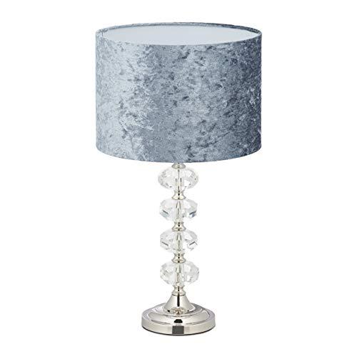 Relaxdays Tischlampe, Samtschirm, Kristallfuß, E14-Fassung, Wohn- & Schlafzimmer, Tischleuchte, H x D: 48 x 26 cm, grau