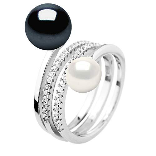Pearls & Colors - Bague Joaillerie Prestige TOI & Moi - Véritables Perles de Culture d'eau Douce Boutons 7-8 et 9-10 mm - Argent 925 Millièmes - Taille Ajustable - Bijou Femme