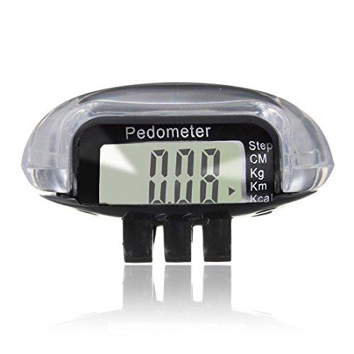 ACAMPTAR LCD-Digital-Multischrittzaehler Walking Schritt Abstand Kalorienzaehler Laufen ritness - schwarz