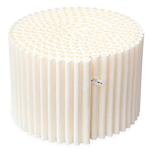 Il Pouf Leggero è più di una semplice seduta: si reinventa facilmente diventando un tavolino da salotto, un comodino o un poggiapiedi. Disponibile in due colori classici, nero e bianco. Diametro: 55 cm, altezza: 36 cm. Colore: bianco caldo (panna)