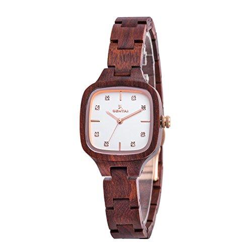 Frauen-hölzerne Uhr Sentai handgemachte hölzerne Uhr natürliche hölzerne Armbanduhr Weinlese Quarz Uhren 12mm Elegante hölzerne Uhr Diamant Quadratvorwahlknopf Supergeschenk Rotes Sandelholz