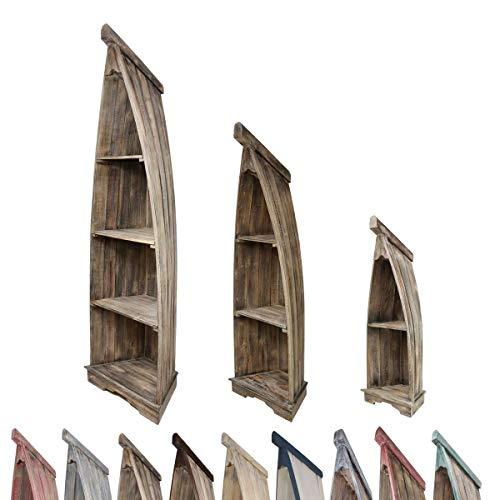 Oriental Galerie Bootsregal Boot Regal Bücherregal Bücherschrank Standregal Aufbewahrung 95 cm Albesia Holz Braun