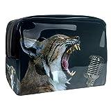 Neceseres de Viaje Micrófono Animal Portable Make Up Bags Neceser de Práctico Bolsa de Lavado de Baño Viajes Vacaciones Fiesta Elementos Esenciales 18.5x7.5x13cm