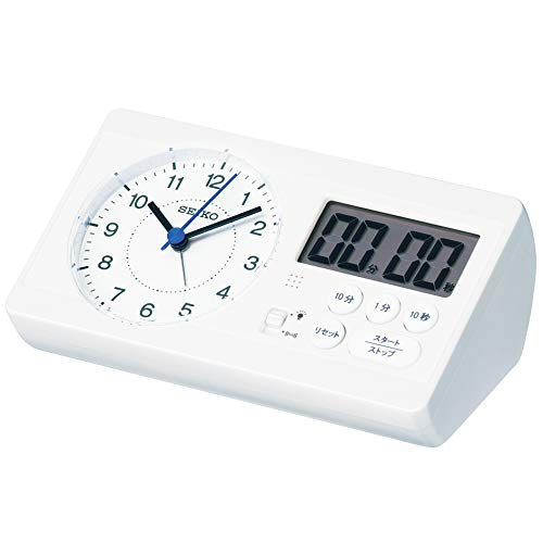 セイコークロック 置き時計 01:白パール 本体サイズ: 6.0×16.0×8.9cm 目覚まし時計 百ます計算 陰山英男モ...