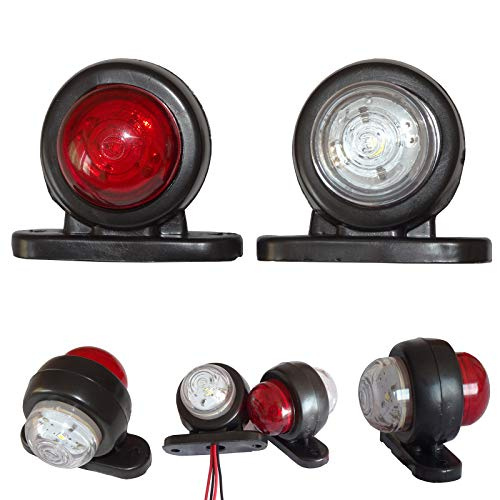 2x LED 12V 24V Mini Rot/Weiss Begrenzungsleuchten Positionsleuchten Markierung LKW PKW KFZ Anhänger