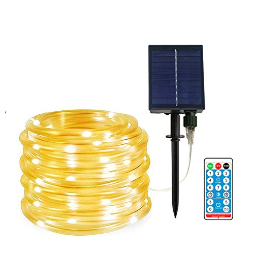40ft/100leds Solar Powered LED String Lights Remote Control Color Changing 8 Modes Copper Wire Decorative Christmas Decorative Lights Waterproof Fairy String Lamp for Wedding Party Outdoor Stake
