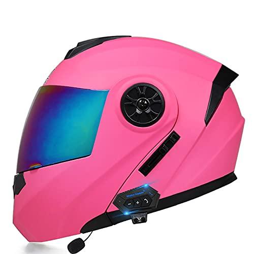 Casco de Moto Modular Bluetooth Integrado con un Micrófono Incorporado, Casco de Motocicleta Integrado con Doble Visera para Adultos Certificación DOT/ECE C,M=57~58CM