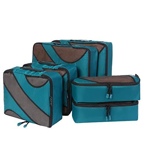 Amazon Brand - Eono Organizadores de Viaje Cubos de Embalaje Organizadores para Maletas Travel Packing Cubes Equipaje de Viaje Organizadores Organizadores para el Equipaje - Teal, 6-Pcs