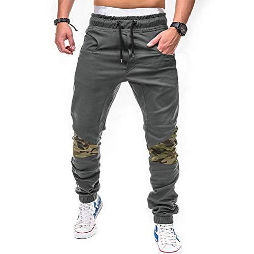 Feidaeu Herrenbekleidung Jogger Freizeithosen Camouflage Patchwork Elastischer Bund Kordelzug Streetwear Jogginghose