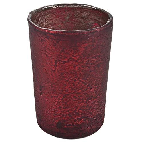 Dadeldo Home Teelichtglas Old-Style Glas 10cm rot