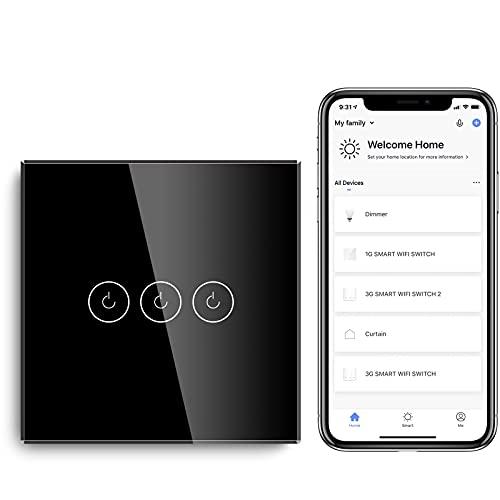 BSEED Interruptor de Sensor Táctil WIFI Inteligente (Se Requiere Línea Neutra) Alexa y Google Home Work con Tuya Para Interruptores de Luz de Pared con Placa de Cristal Negro 3 Gang 1 Vía Negro