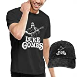 Luke Combs Men's T-Shirt & Hat Cotton T-Shirt & Denim Cap (Baseball Hat) Black