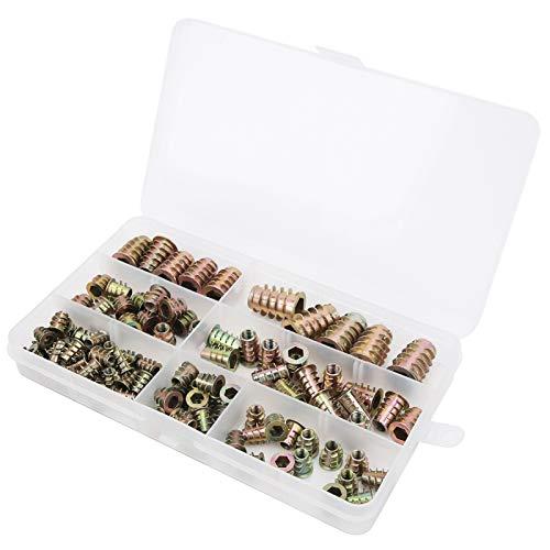 Juego de tuercas de inserción de enchufe hexagonal de 100 piezas, tornillos de tuerca integrados de hierro galvanizado para muebles, sujetadores de tornillo de rosca, conectores en caja M4 / M5 / M6 /