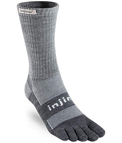Injinji 2.0 Outdoor Midweight Crew Nuwool Socks, Charcoal & Black, Large