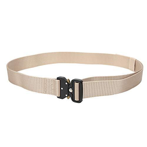 Cinturón de Trabajo Espesar 3,8 cm Aleación Nylon Tácticas multifunción al Aire Libre Cinturón de Entrenamiento de montañismo(Blanco Crema)