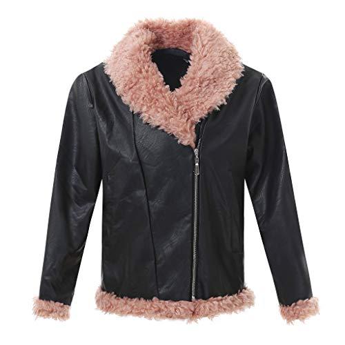 AIni Damen Festlich Elegant Lässige Warme Langarm Lederjacke Outwear Overcoat Top Bluse Party Abend Warm Mäntel Jacke Coat(XL,Schwarz)